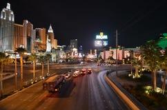 Λας Βέγκας, νέες Υόρκη-νέες ξενοδοχείο της Υόρκης & χαρτοπαικτική λέσχη, η λουρίδα, μητροπολιτική περιοχή, νύχτα, δρόμος, πόλη στοκ εικόνες