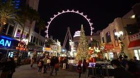 Λας Βέγκας, ΣΤΙΣ 25 ΔΕΚΕΜΒΡΊΟΥ: Άποψη νύχτας της διακόσμησης Χριστουγέννων απόθεμα βίντεο