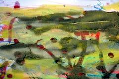 Λασπώδες αφηρημένο υπόβαθρο watercolor χρωμάτων με το κερί Στοκ Φωτογραφία