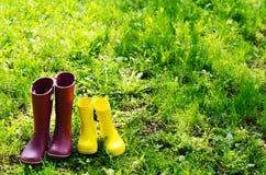 Λαστιχένιες μπότες για τη γυναίκα και το παιδί στο θερινό κήπο Στοκ Εικόνες