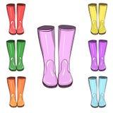 Λαστιχένιες μπότες, gumboots Προστατεύστε από το νερό και τη βρωμερή έκταση διανυσματική απεικόνιση