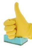 Λαστιχένιο γάντι και πράσινο σφουγγάρι Στοκ φωτογραφίες με δικαίωμα ελεύθερης χρήσης