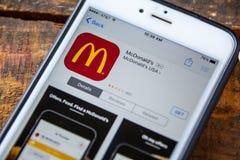 ΛΑΣ ΒΈΓΚΑΣ, NV - 22 Σεπτεμβρίου 2016 - Κινητό AP iPhone της McDonald's Στοκ Εικόνες