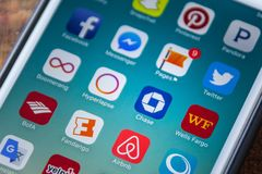 ΛΑΣ ΒΈΓΚΑΣ, NV - 22 Σεπτεμβρίου 2016 - App τράπεζας αυλακώματος εικονίδιο σε Appl Στοκ φωτογραφία με δικαίωμα ελεύθερης χρήσης