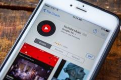 ΛΑΣ ΒΈΓΚΑΣ, NV - 22 Σεπτεμβρίου 2016 - IPhone App μουσικής YouTube μέσα Στοκ φωτογραφία με δικαίωμα ελεύθερης χρήσης