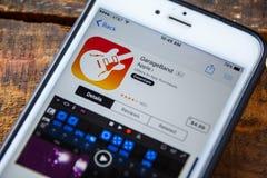 ΛΑΣ ΒΈΓΚΑΣ, NV - 22 Σεπτεμβρίου 2016 - IPhone App της Apple GarageBand Στοκ Εικόνα