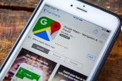 ΛΑΣ ΒΈΓΚΑΣ, NV - 22 Σεπτεμβρίου 2016 - IPhone App του Google Maps στο Τ Στοκ φωτογραφίες με δικαίωμα ελεύθερης χρήσης