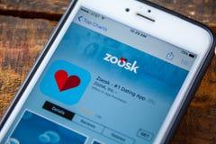 ΛΑΣ ΒΈΓΚΑΣ, NV - 22 Σεπτεμβρίου 2016 - IPhone App Zoosk App Στοκ Εικόνες