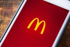 ΛΑΣ ΒΈΓΚΑΣ, NV - 22 Σεπτεμβρίου 2016 - McDonald's App στη Apple iPh Στοκ Εικόνες