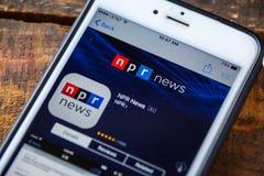 ΛΑΣ ΒΈΓΚΑΣ, NV - 22 Σεπτεμβρίου 2016 - NPR iPhone App ειδήσεων Στοκ Εικόνες