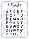 Λατινικά αλφάβητου, χέρι που σύρεται, διάνυσμα ελεύθερη απεικόνιση δικαιώματος