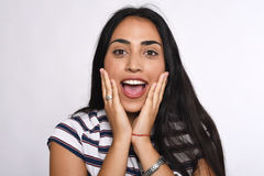 Λατινική γυναίκα έκπληκτη Στοκ εικόνα με δικαίωμα ελεύθερης χρήσης