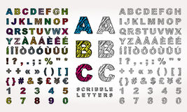 Λατινικό αλφάβητο με την επίδραση κακογραφίας Στοκ Εικόνες