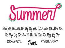 Λατινικό καλοκαίρι αλφάβητου Γραφή πηγών με τα στοιχεία κεφαλαία και μικρά, τους αριθμούς και τα σύμβολα Σύγχρονο χειρόγραφο απεικόνιση αποθεμάτων