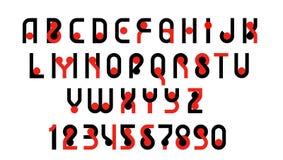 Λατινικό σύγχρονο τολμηρό αλφάβητο πηγών, ανώτερος - επιστολές περίπτωσης και αριθμοί Διάνυσμα, δύο χρώματα - κόκκινο και ο Μαύρο Στοκ εικόνα με δικαίωμα ελεύθερης χρήσης