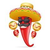 Λατινικό maraca μεξικάνικο καπέλων κόκκινο δροσερό καυτό τσίλι πιπεριών γυαλιών ηλίου mustache ευτυχές σχέδιο κινούμενων σχεδίων  Στοκ φωτογραφία με δικαίωμα ελεύθερης χρήσης