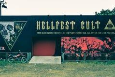 Λατρεία Hellfest, ζώνη κομμάτων στο πιό hellfest φεστιβάλ Στοκ Φωτογραφία