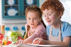 λατρευτά παιδιά που διαβάζουν cookbook μαγειρεύοντας από κοινού Στοκ εικόνα με δικαίωμα ελεύθερης χρήσης