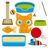 Λατρευτή γάτα κινούμενων σχεδίων με τα διαφορετικά παιχνίδια και τα στοιχεία Στοκ φωτογραφίες με δικαίωμα ελεύθερης χρήσης