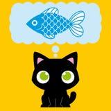 Λατρευτή γάτα κινούμενων σχεδίων που ονειρεύεται με ένα ψάρι Στοκ φωτογραφίες με δικαίωμα ελεύθερης χρήσης