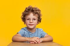Λατρευτό έξυπνο αγόρι στο στούντιο Στοκ φωτογραφία με δικαίωμα ελεύθερης χρήσης