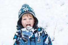 Λατρευτό αγόρι μικρών παιδιών που έχει τη διασκέδαση με το χιόνι τη χειμερινή ημέρα Στοκ εικόνες με δικαίωμα ελεύθερης χρήσης