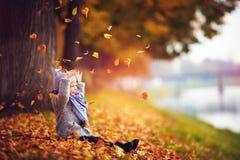 Λατρευτό ευτυχές κοριτσάκι που πιάνει τα πεσμένα φύλλα, που παίζουν στο πάρκο φθινοπώρου Στοκ εικόνες με δικαίωμα ελεύθερης χρήσης