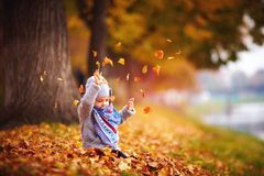 Λατρευτό ευτυχές κοριτσάκι που πιάνει τα πεσμένα φύλλα, που παίζουν στο πάρκο φθινοπώρου Στοκ Φωτογραφίες