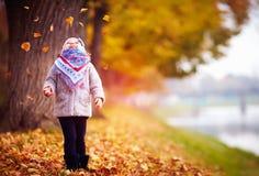 Λατρευτό ευτυχές κοριτσάκι που πιάνει τα πεσμένα φύλλα, που παίζουν στο πάρκο φθινοπώρου Στοκ φωτογραφία με δικαίωμα ελεύθερης χρήσης