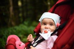 Λατρευτό κοριτσάκι έξω στον κόκκινο περιπατητή στο δασικό νήπιο με το soother στοκ φωτογραφίες