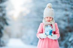 Λατρευτό μικρό κορίτσι με το φακό στο παγωμένο δάσος στα Χριστούγεννα στη χειμερινή ημέρα Στοκ φωτογραφίες με δικαίωμα ελεύθερης χρήσης