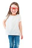 Λατρευτό μικρό κορίτσι σε μια άσπρη μπλούζα Στοκ Εικόνες