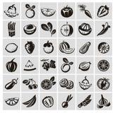 Λαχανικά και εικονίδια φρούτων Στοκ φωτογραφία με δικαίωμα ελεύθερης χρήσης