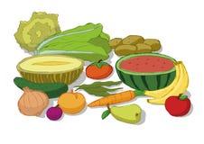 Λαχανικά και καρποί που τίθενται Διανυσματική απεικόνιση