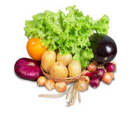 Λαχανικά και πρασινάδα με το καλάθι Στοκ φωτογραφία με δικαίωμα ελεύθερης χρήσης