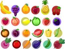 Λαχανικά και φρούτα κινούμενων σχεδίων Στοκ εικόνα με δικαίωμα ελεύθερης χρήσης