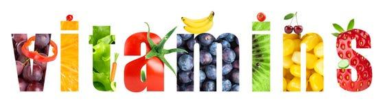 λαχανικά καρπών κολάζ βιταμίνες Στοκ Εικόνες