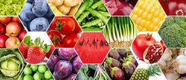 λαχανικά καρπών κολάζ Στοκ Εικόνα