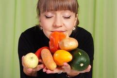 λαχανικά κοριτσιών Στοκ Φωτογραφία