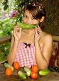 λαχανικά κοριτσιών Στοκ φωτογραφία με δικαίωμα ελεύθερης χρήσης