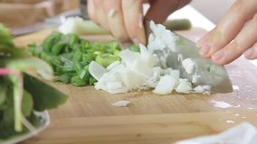 Λαχανικά μαγειρέματος και κοπής απόθεμα βίντεο