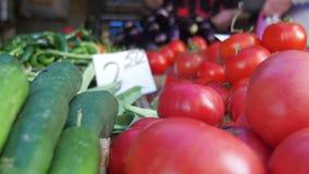 Λαχανικά προθηκών Μετρητής με τα λαχανικά στην αγορά τροφίμων απόθεμα βίντεο