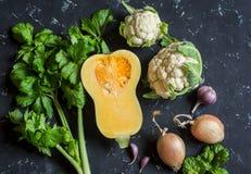 Λαχανικά πτώσης σε ένα σκοτεινό υπόβαθρο - κολοκύθα, κουνουπίδι, σέλινο, κρεμμύδι, σκόρδο Στοκ Εικόνες