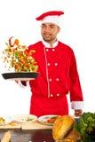 Λαχανικά ρίψης ατόμων αρχιμαγείρων Στοκ Φωτογραφίες