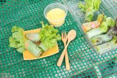 Λαχανικά ρόλων σαλάτας και ραβδί καβουριών, χοιρινού κρέατος, ζαμπόν και λουκάνικων Στοκ Φωτογραφίες