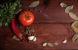 Λαχανικά στο σκοτεινό ξύλινο υπόβαθρο με τα χορτάρια Στοκ φωτογραφία με δικαίωμα ελεύθερης χρήσης