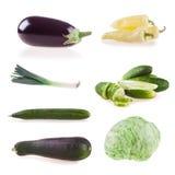 Λαχανικά συλλογής που απομονώνονται στο άσπρο υπόβαθρο, πιπέρια, μελιτζάνα, αγγούρι, κολοκύθια, πράσο, κρεμμύδι, ντομάτα, μαρούλι Στοκ εικόνες με δικαίωμα ελεύθερης χρήσης