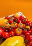 Λαχανικά υποβάθρου οργανικής τροφής στο καλάθι ντομάτες, πιπέρι Στοκ Φωτογραφίες