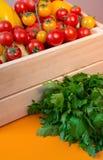 Λαχανικά υποβάθρου οργανικής τροφής στο καλάθι Στοκ φωτογραφία με δικαίωμα ελεύθερης χρήσης