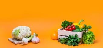 Λαχανικά υποβάθρου οργανικής τροφής στο καλάθι Στοκ φωτογραφίες με δικαίωμα ελεύθερης χρήσης